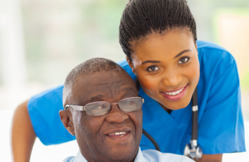 Nurse and older man