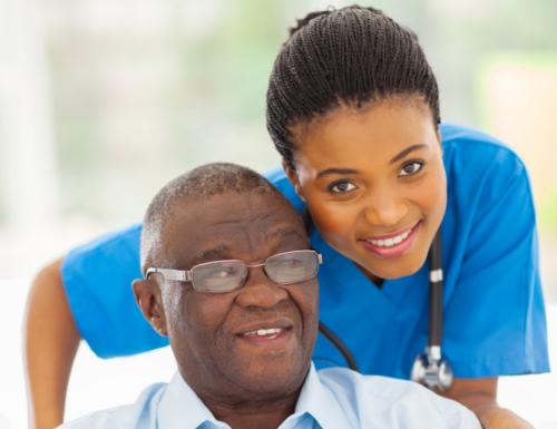 Nurse and older man